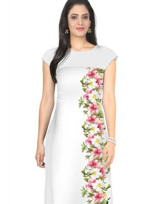 Faux Crepe Fancy Multi Colour Casual Kurti