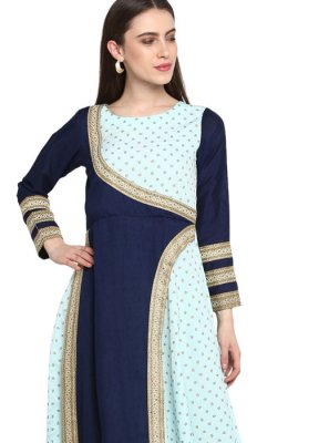 Faux Crepe Fancy Party Wear Kurti in Blue