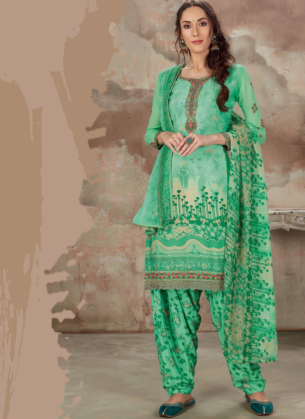 Faux Crepe Green Designer Patiala Salwar Kameez