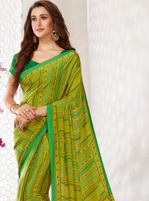 Faux Crepe Green Printed Casual Saree