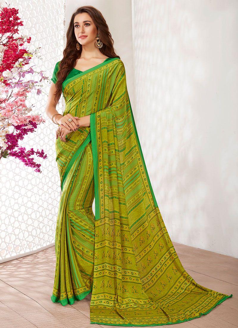 Faux Crepe Green Printed Casual Saree