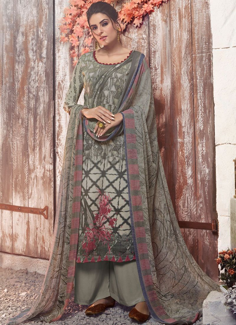 Faux Crepe Grey Abstract Print Designer Pakistani Suit