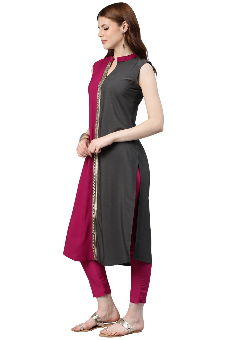 Faux Crepe Grey and Hot Pink Casual Kurti