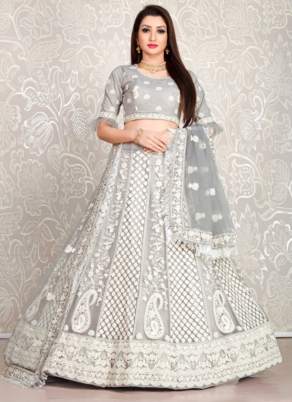 Faux Crepe Grey Embroidered Designer Lehenga Choli