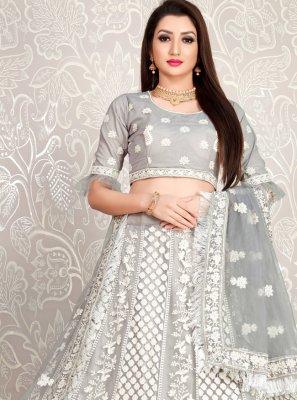 Faux Crepe Grey Embroidered Designer Lehenga Choli
