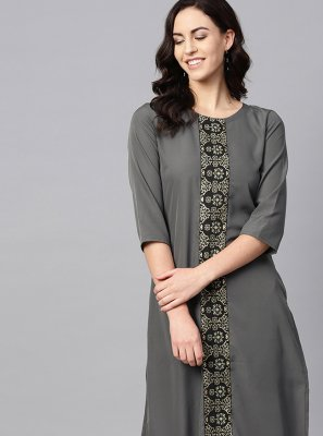 Faux Crepe Grey Lace Casual Kurti
