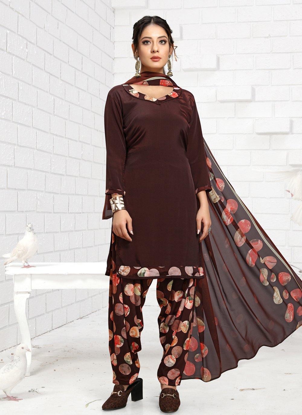 Faux Crepe Maroon Printed Trendy Salwar Suit