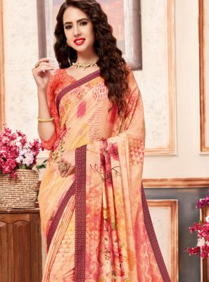 Faux Crepe Multi Colour Abstract Print Printed Saree