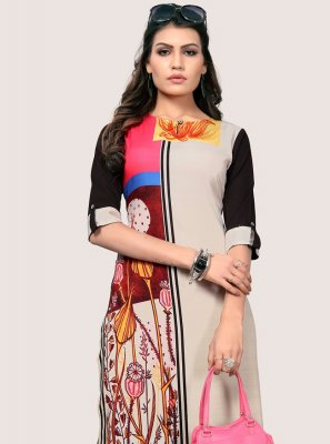 Faux Crepe Multi Colour Party Wear Kurti