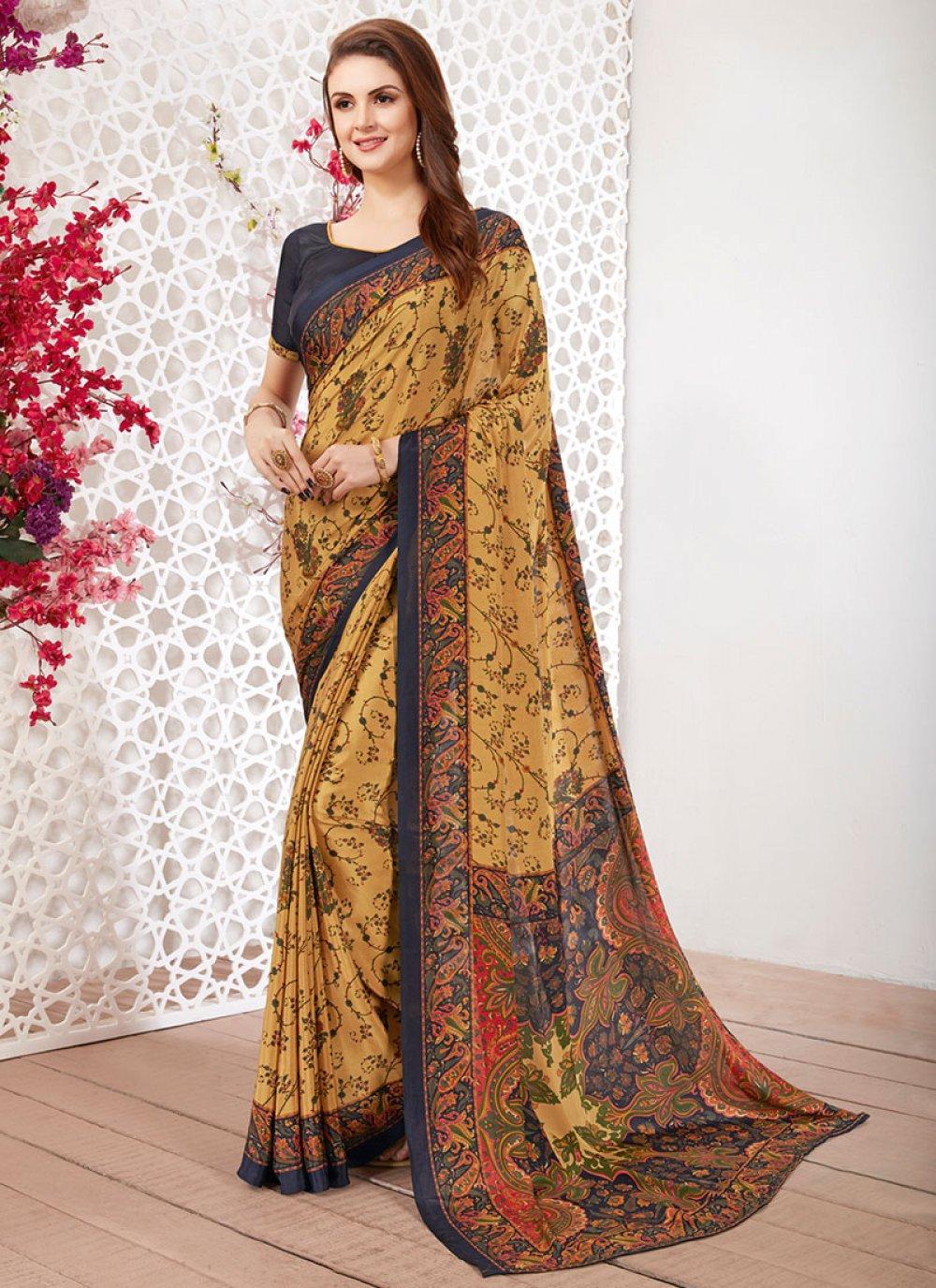 Faux Crepe Multi Colour Printed Casual Saree