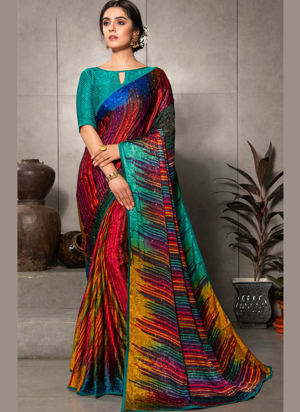 Faux Crepe Multi Colour Printed Saree
