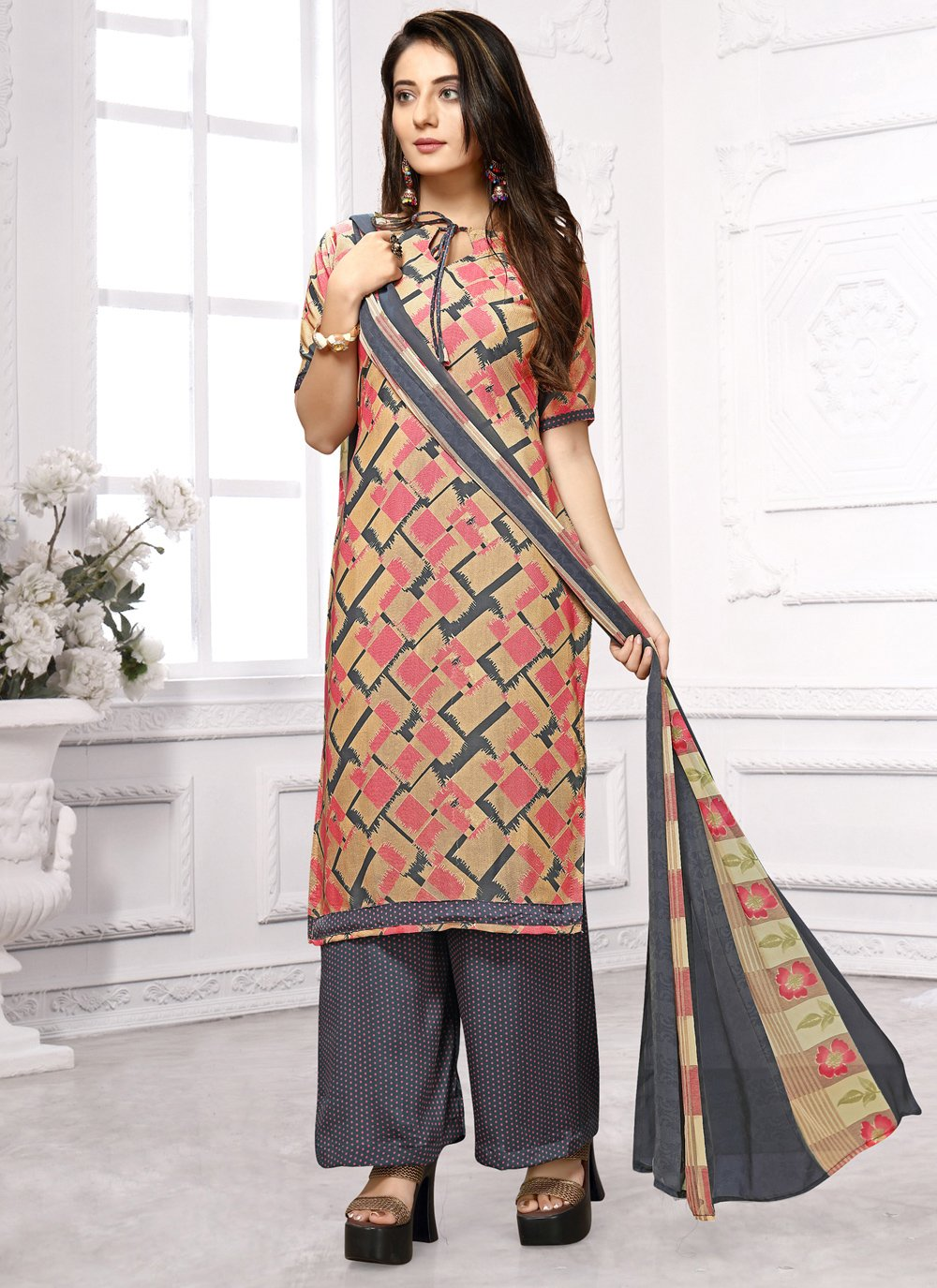 Faux Crepe Multi Colour Salwar Suit