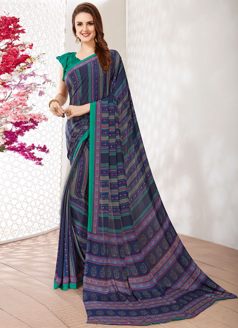 Faux Crepe Navy Blue Casual Saree