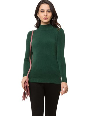 Faux Crepe Plain Green Casual Kurti