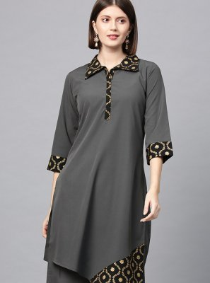 Faux Crepe Plain Grey Casual Kurti
