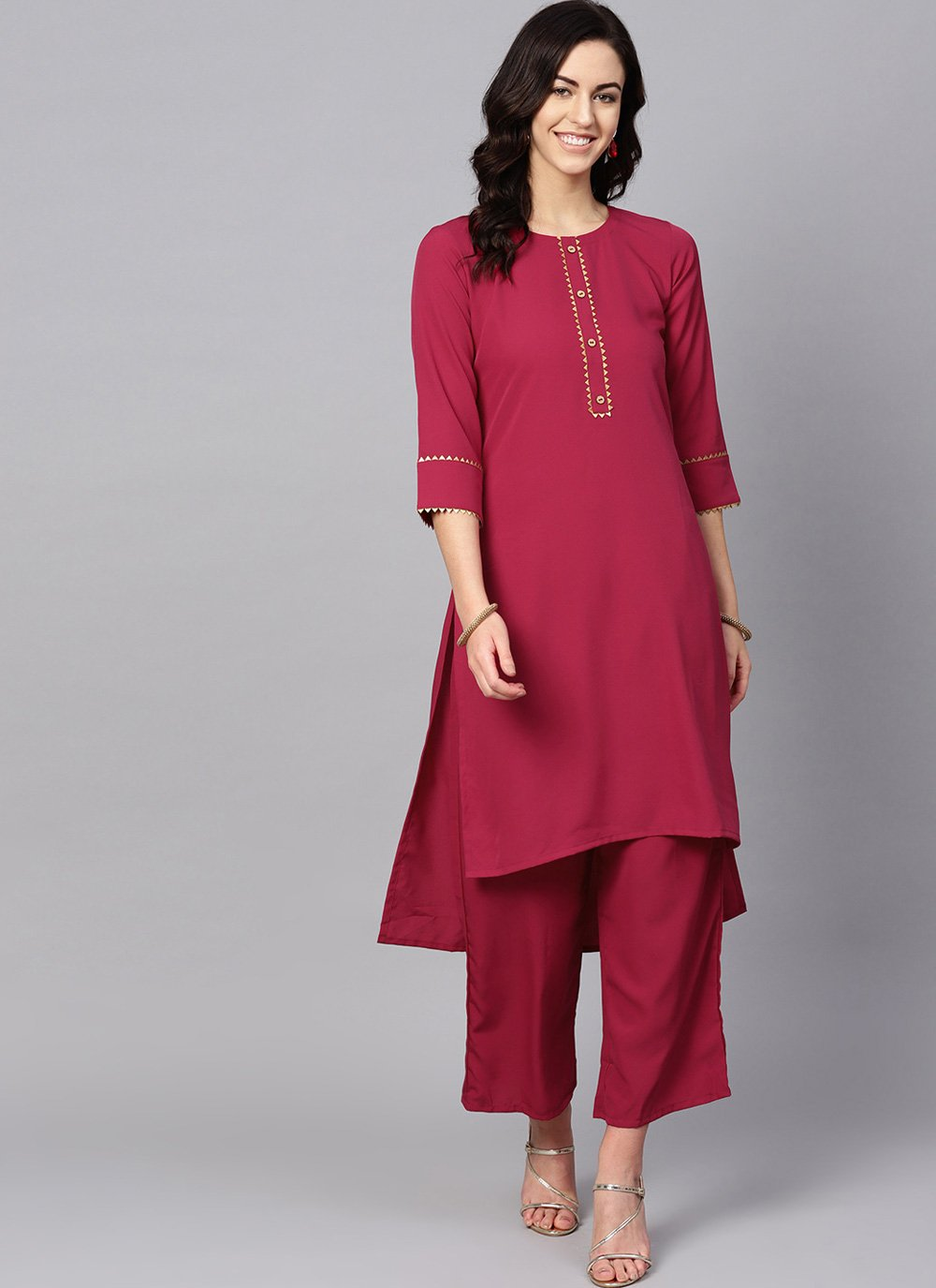Faux Crepe Plain Pink and Red Casual Kurti