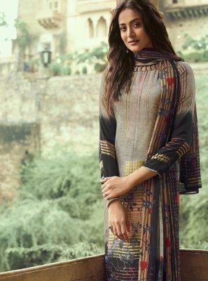 Faux Crepe Printed Beige Pakistani Salwar Kameez