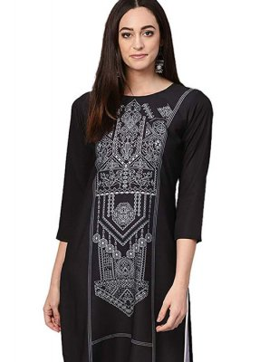 Faux Crepe Printed Black Casual Kurti
