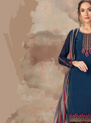 Faux Crepe Printed Blue Patiala Suit