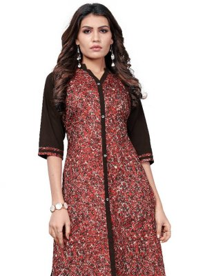Faux Crepe Printed Casual Kurti in Multi Colour