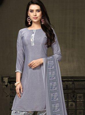 Faux Crepe Printed Grey Salwar Kameez