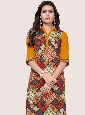 Faux Crepe Printed Multi Colour Party Wear Kurti
