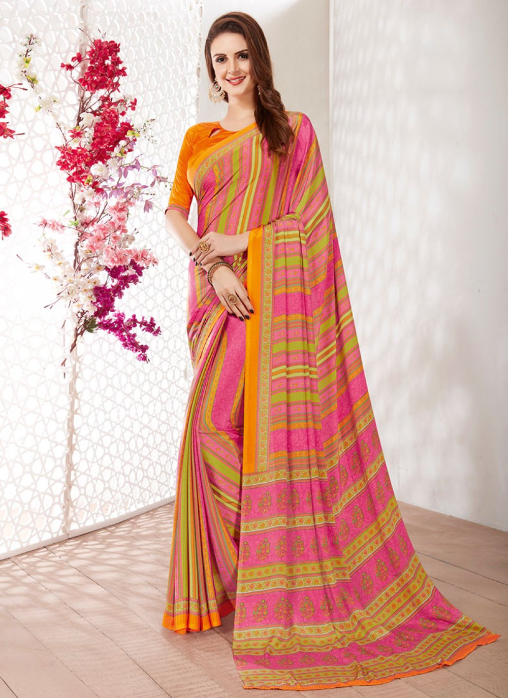 Faux Crepe Printed Multi Colour Printed Saree