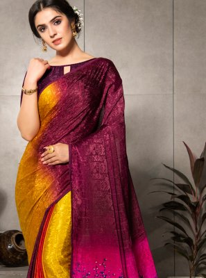 Faux Crepe Printed Multi Colour Printed Saree