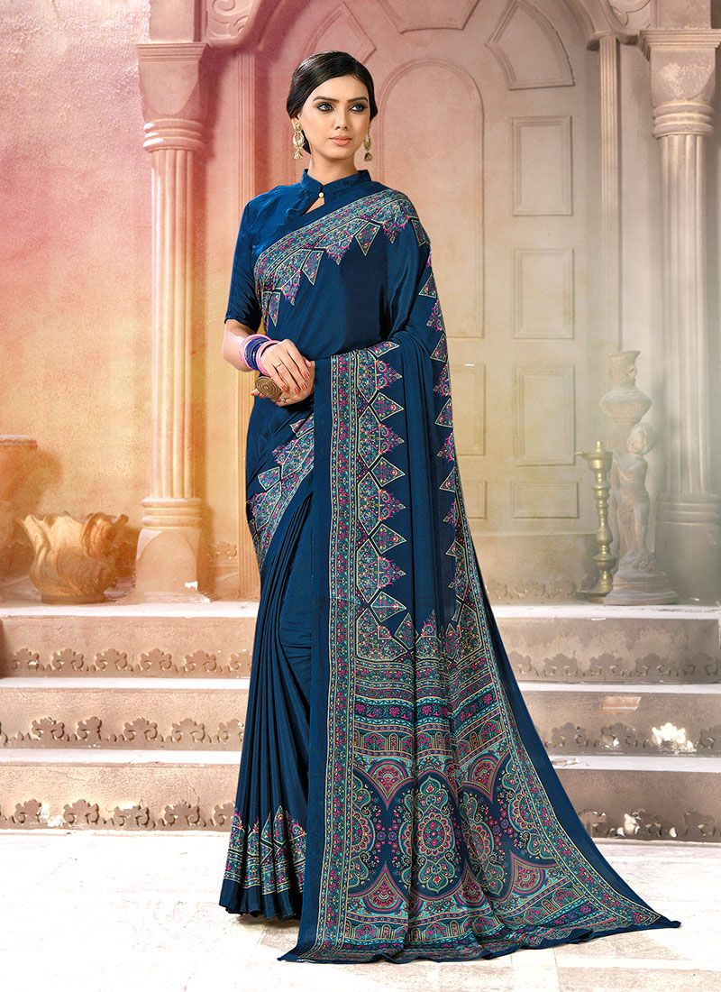 Faux Crepe Printed Navy Blue Casual Saree