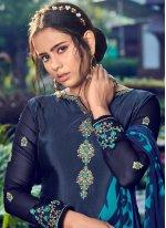 Faux Crepe Printed Navy Blue Trendy Pakistani Salwar Suit