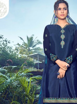 Faux Crepe Printed Navy Blue Trendy Pakistani Salwar Suit