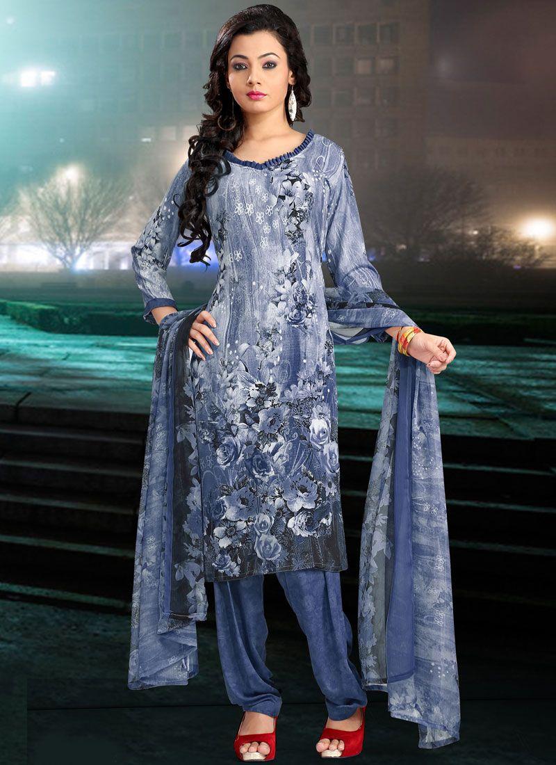 Faux Crepe Printed Salwar Suit in Blue