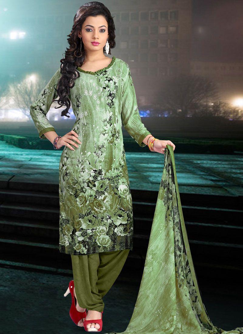 Faux Crepe Printed Salwar Suit in Sea Green
