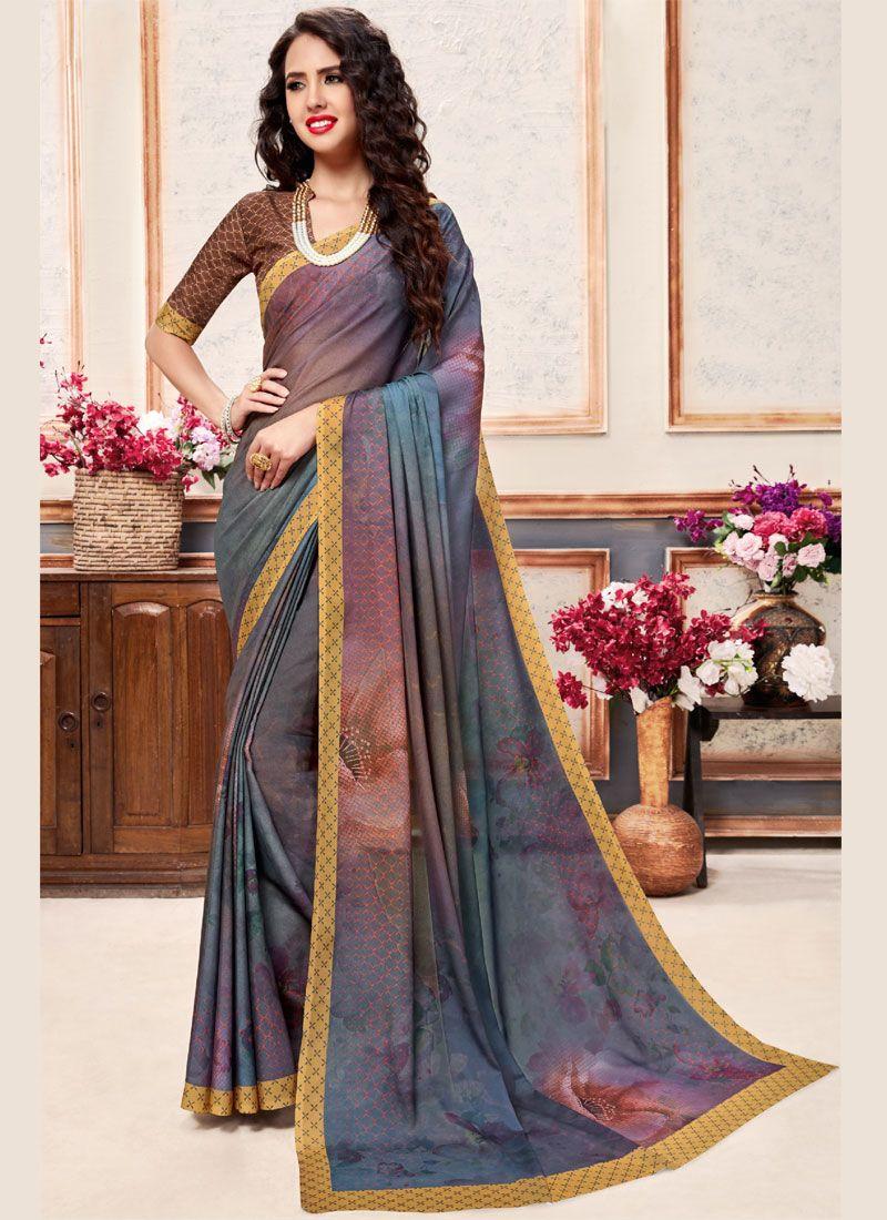 Faux Crepe Printed Saree in Multi Colour