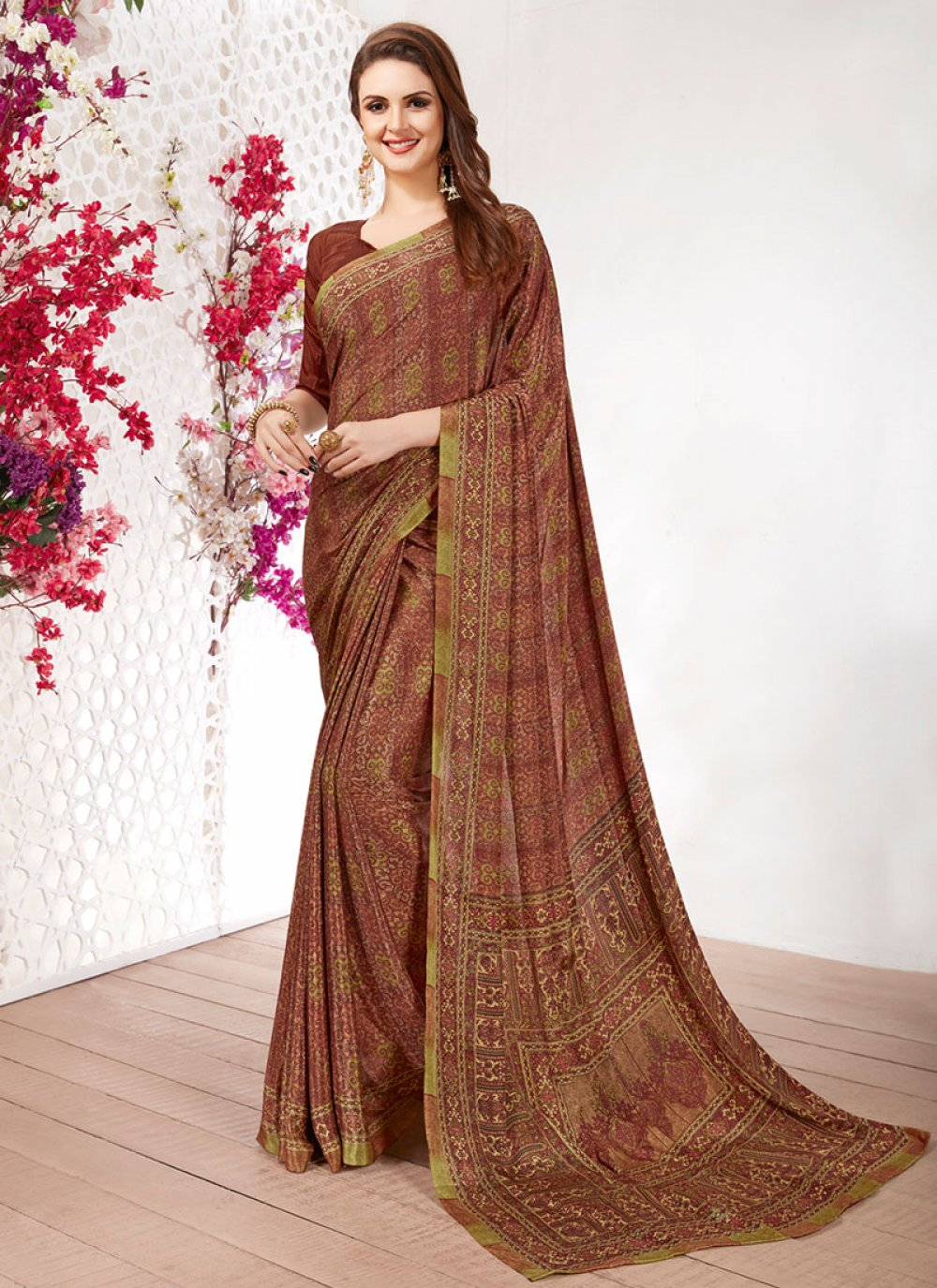 Faux Crepe Printed Saree in Multi Colour