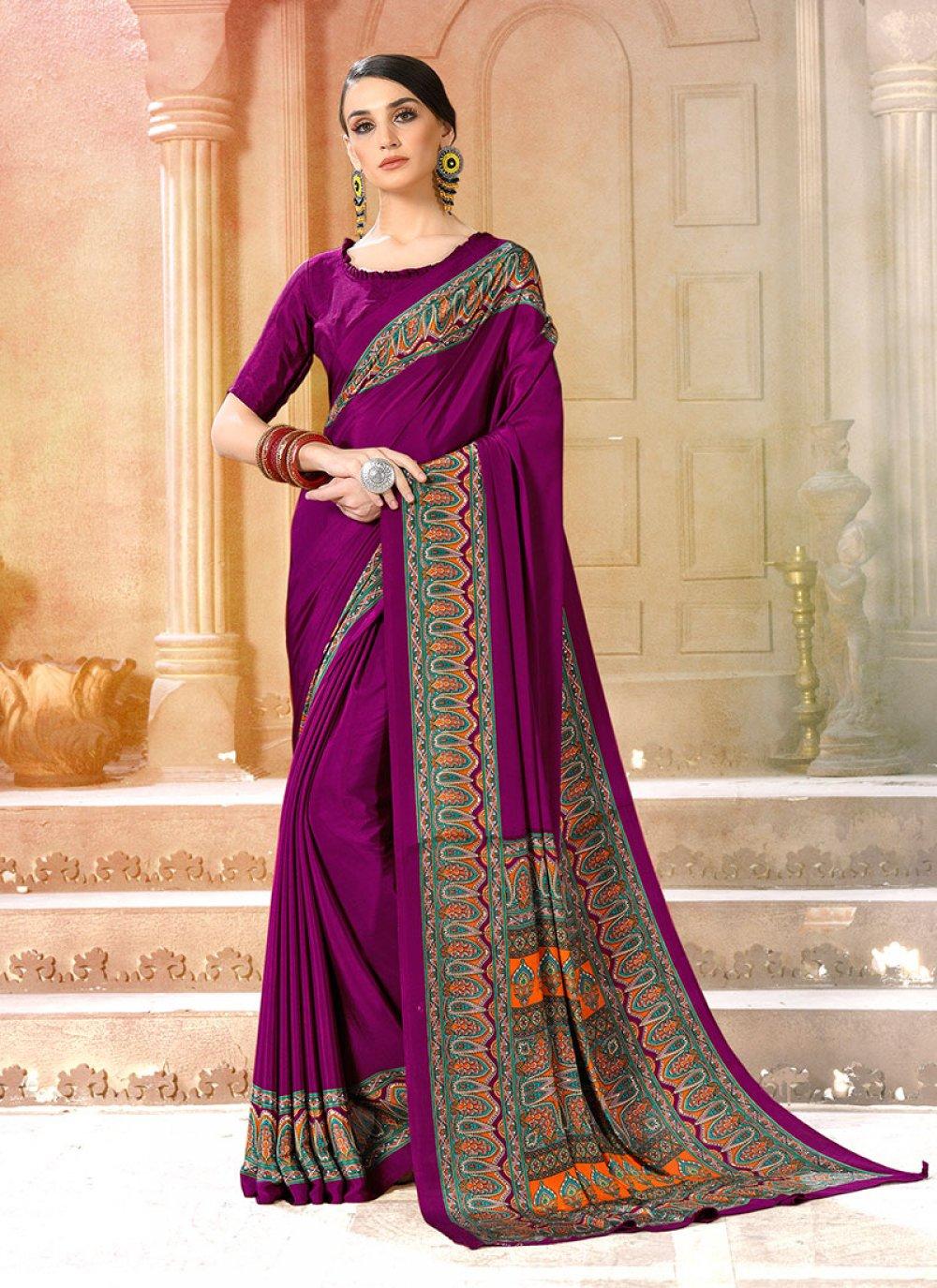Faux Crepe Printed Saree in Purple