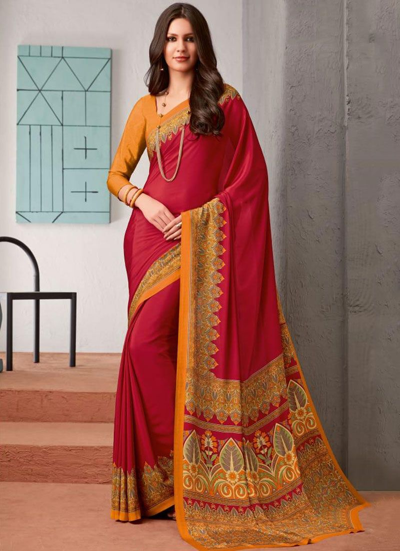 Faux Crepe Red Abstract Print Saree