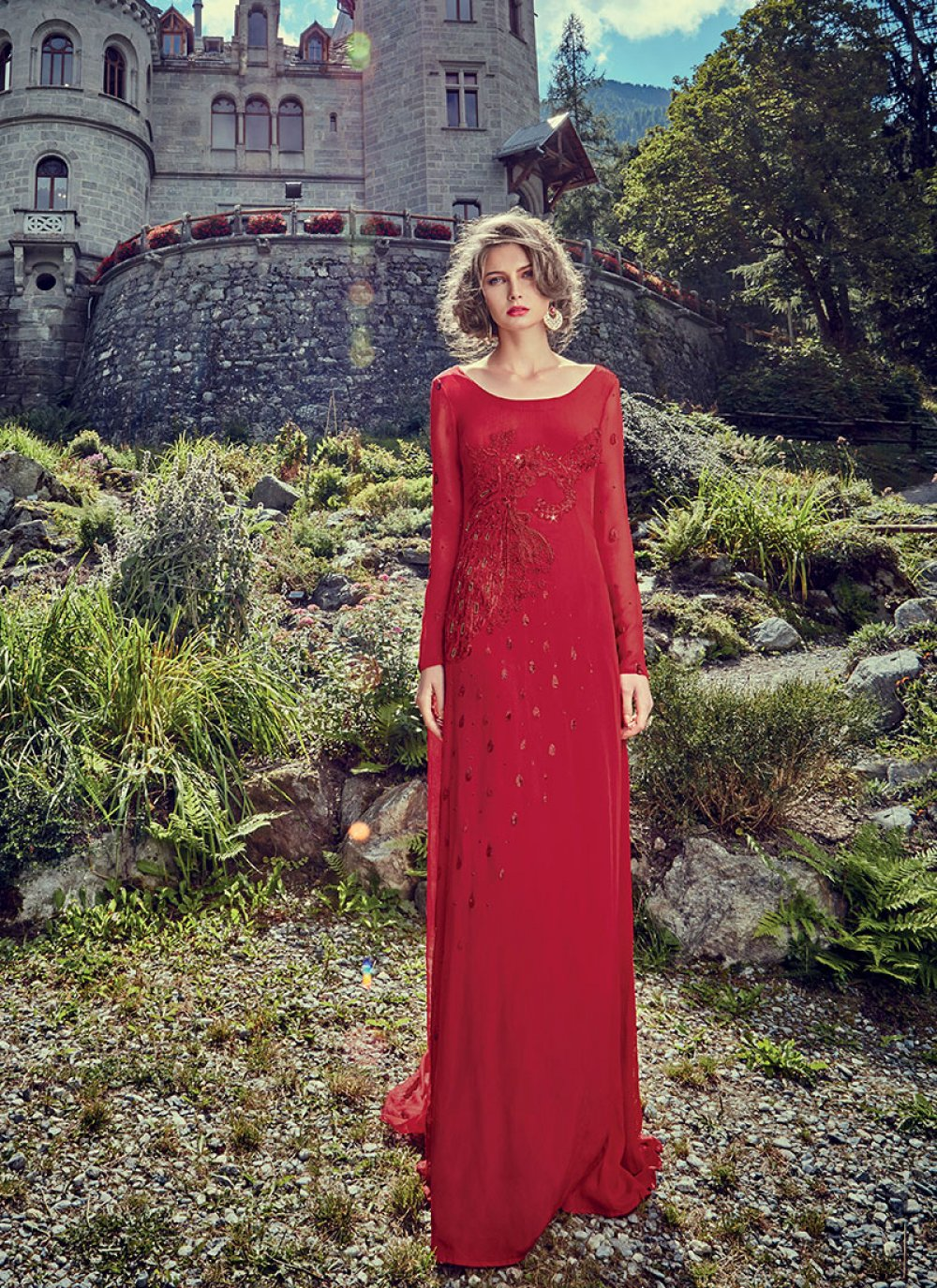 Faux Crepe Red Designer Gown