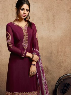 Faux Crepe Resham Purple Patiala Suit