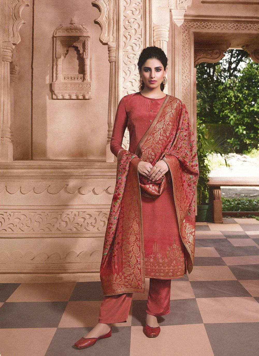 Faux Crepe Rust Embroidered Designer Patila Salwar Suit