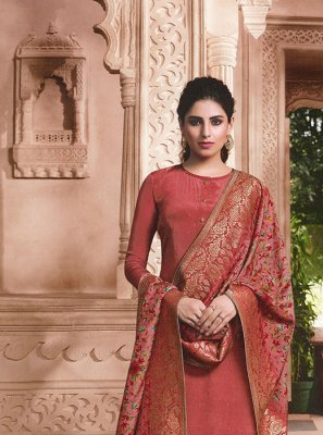 Faux Crepe Rust Embroidered Designer Patila Salwar Suit