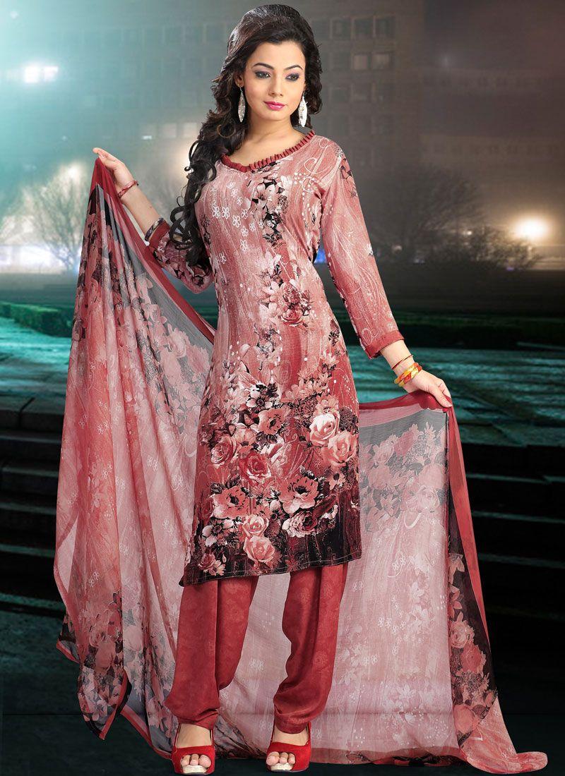Faux Crepe Rust Printed Salwar Suit