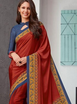 Faux Crepe Rust Printed Saree