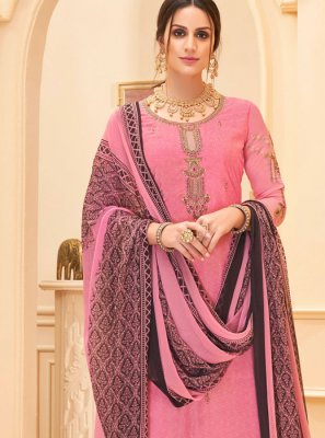 Faux Crepe Salwar Suit in Pink