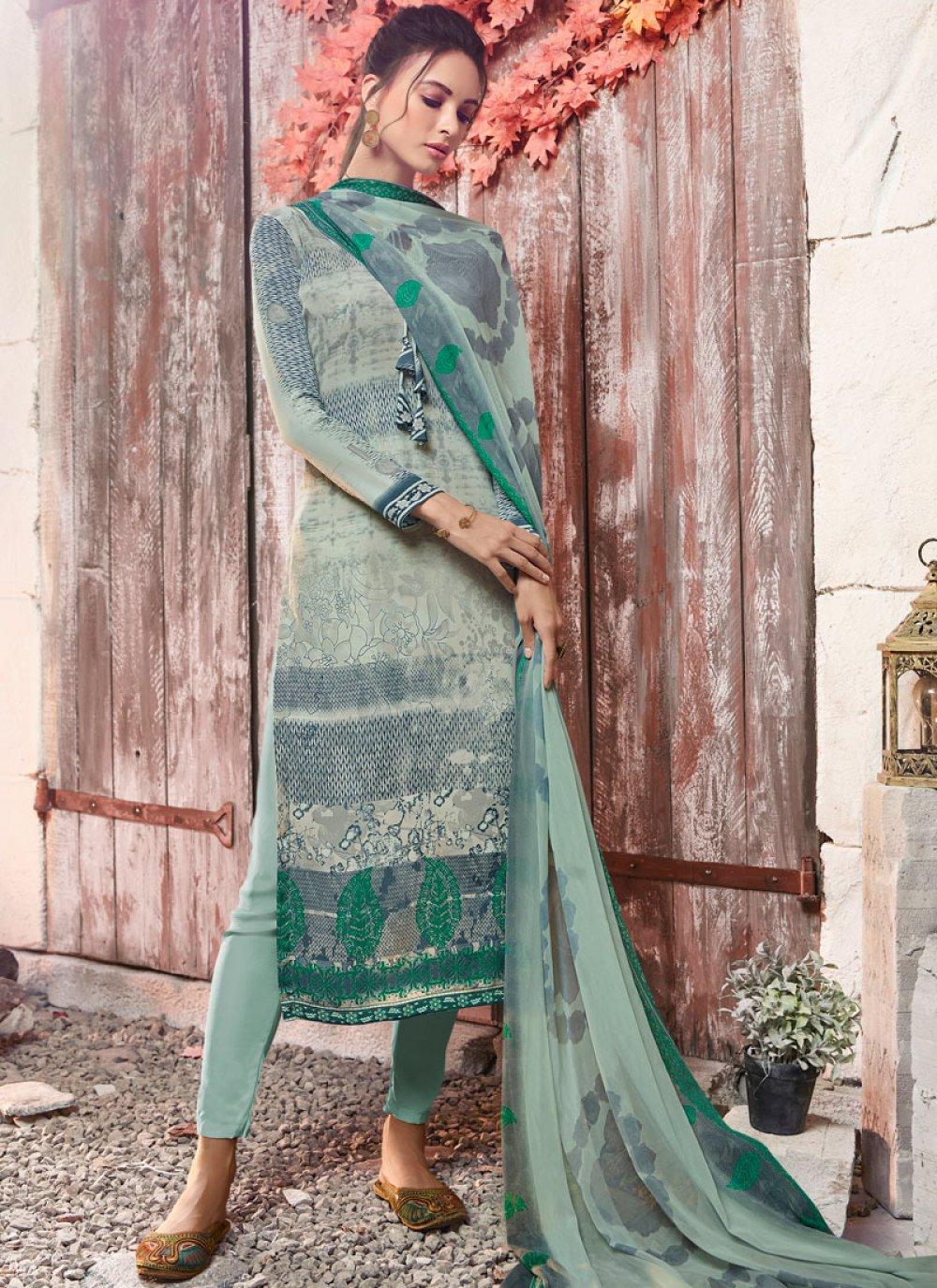 Faux Crepe Sea Green Designer Pakistani Suit