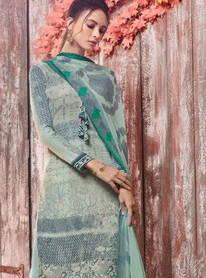 Faux Crepe Sea Green Designer Pakistani Suit