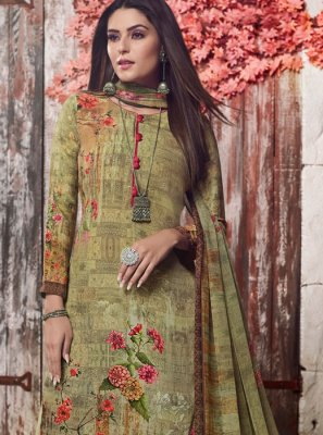 Faux Crepe Sea Green Digital Print Trendy Palazzo Salwar Kameez