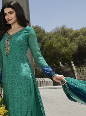 Faux Crepe Sea Green Salwar Suit