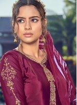 Faux Crepe Trendy Salwar Kameez in Magenta
