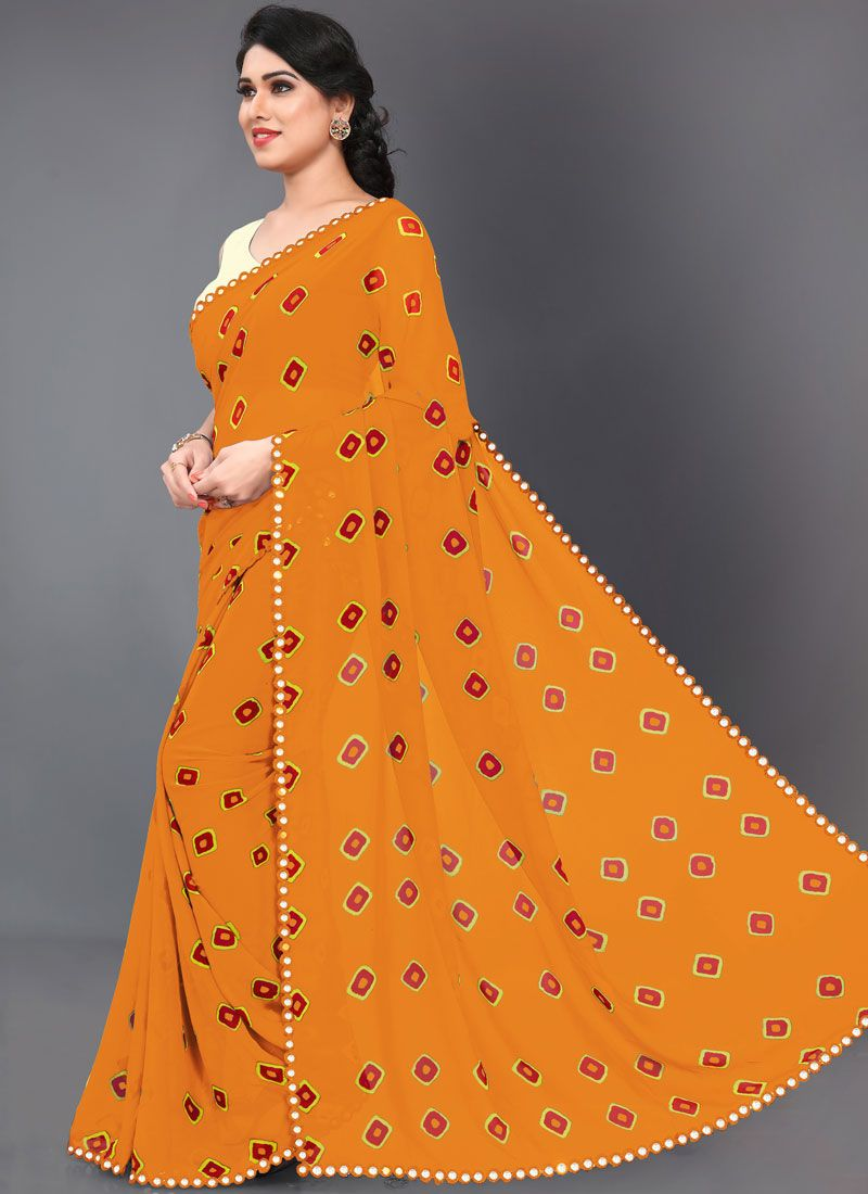 Faux Georgette Abstract Print Mustard Printed Saree
